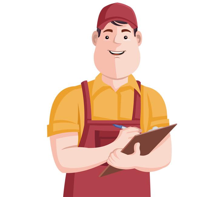 库管记账快递物流工作人员卡通人物设计矢量图素材  记账的快递员
