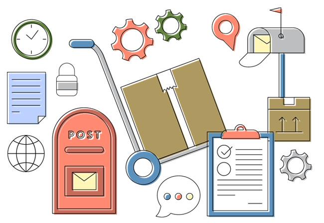 快递信件物流元素图标设计矢量素材下载