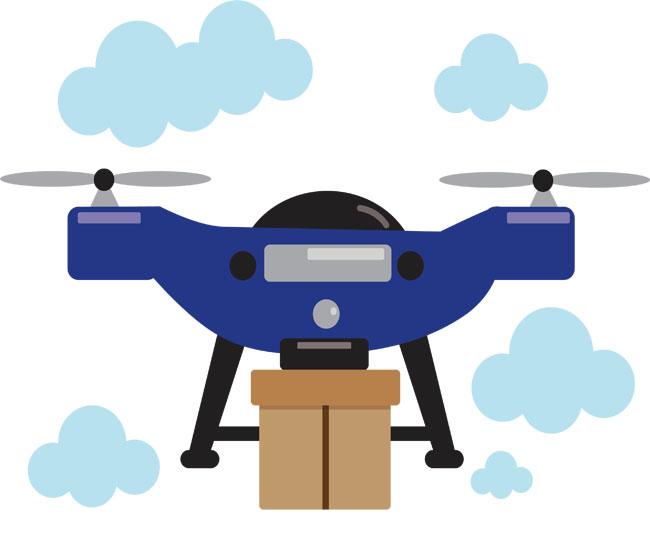 蓝色无人机免费下载   矢量png  无人机  快递  送快递