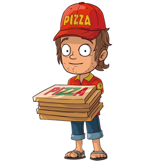 形象设计素材下载  卡通快递员免费下载   卡通  快递员  披萨  矢量