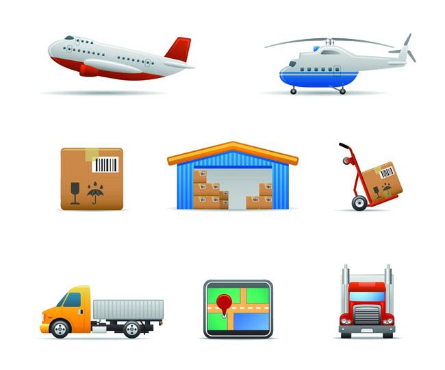 物流运输飞机仓库快递元素设计矢量素材下载
