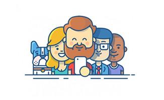 扁平化断线风格卡通形象人物头像设计素材
