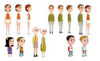 扁平化人物各年龄段人三视图卡通形象设计素材