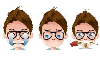 人物男孩卡通头像设计各种表情图片素材下载