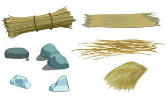 稻草石头麦草草堆素材f