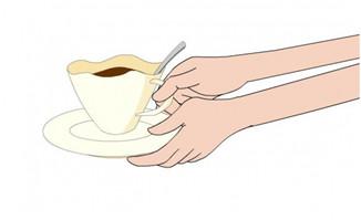 <b>双手端咖啡杯放在桌子上的动作flash小动画素材</b>