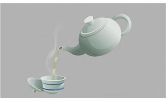 陶瓷茶壶往倒茶杯里面倒