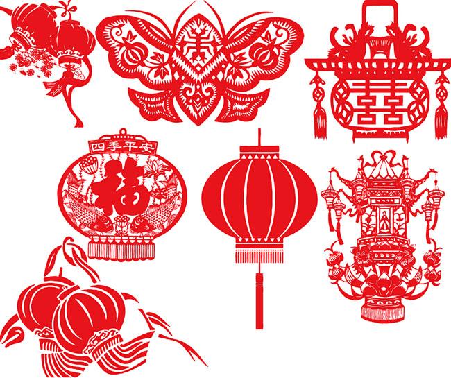 新年剪纸祝福各种灯笼图案设计矢量素材