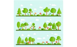 扁平化3组绿色植被风景树