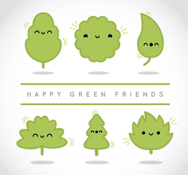 多款卡通动漫绿色树木矢量素材_flash二维动画素材mg.