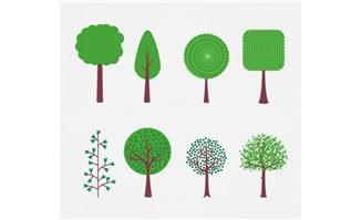 多款绿色清新树木设计素材下载_flash二维动画素材mg.