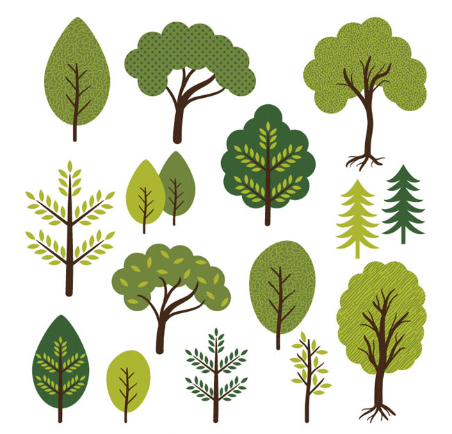 14款卡通树木设计矢量素材   树  树叶矢量素材  动漫卡通树叶