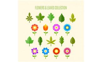 各种树叶树木花朵图标设计矢量素材_flash二维动画mg.