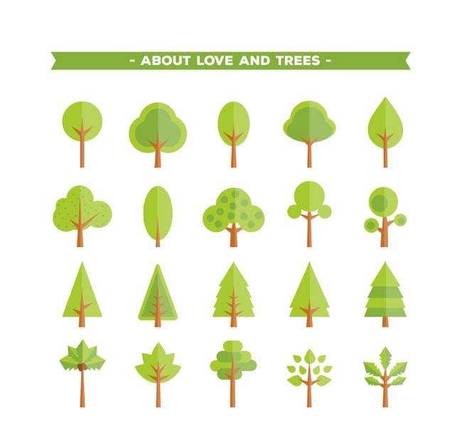 20款绿色树木图标矢量素材    扁平化风格树叶树木图标设计    树