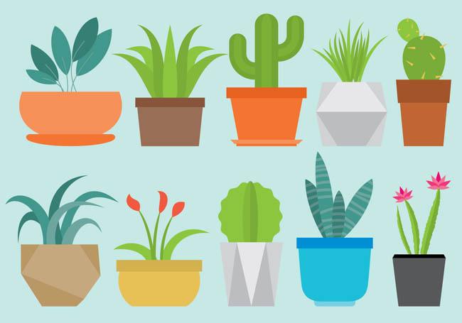 扁平化多边形植物花卉盆栽设计素材
