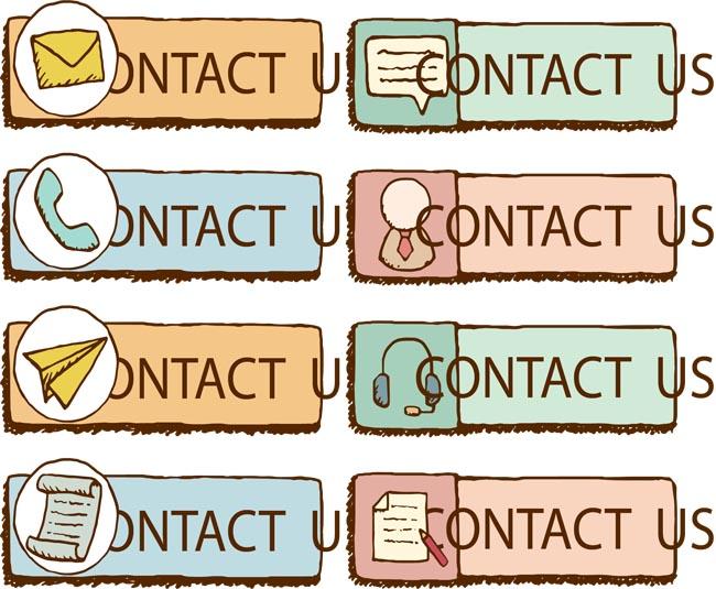 手绘图标界面按钮设计矢量素材