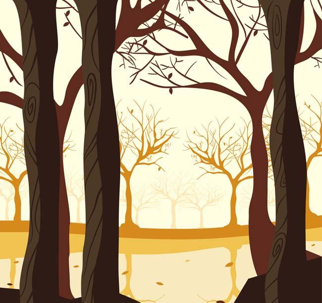 秋天森林树木创意插画设计素材