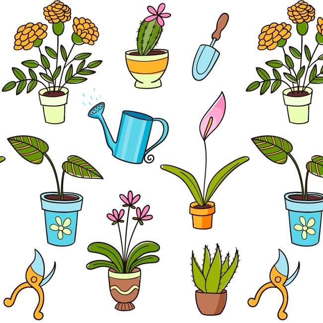 卡通盆栽无缝背景矢量素材   手绘花卉  多肉植物  仙人球  小盆景