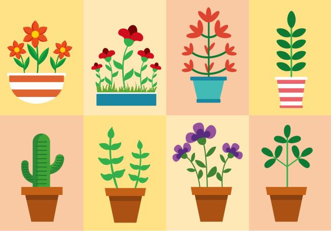 矢量盆栽花卉植物素材下载