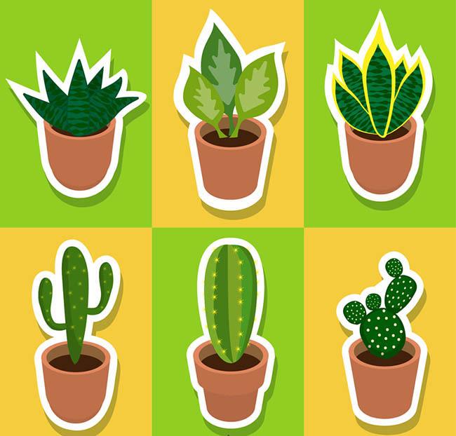 扁平化绿色多肉植物贴纸设计矢量素材