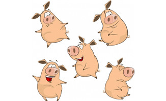 猪动漫卡通形象设计多个表情设计素材