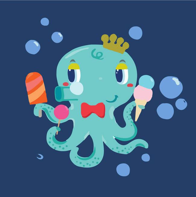 章鱼动漫卡通形象设计素材   海洋生物卡通形象   矢量章鱼设计