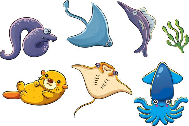 海洋生物各种卡通动漫形象设计矢量素材_flash二维mg.