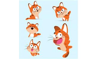 卡通猫表情动漫形象设计矢量素材_flash二维动画素材.