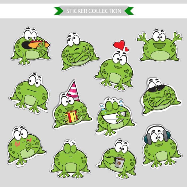绿色青蛙卡通动漫表情设计矢量素材