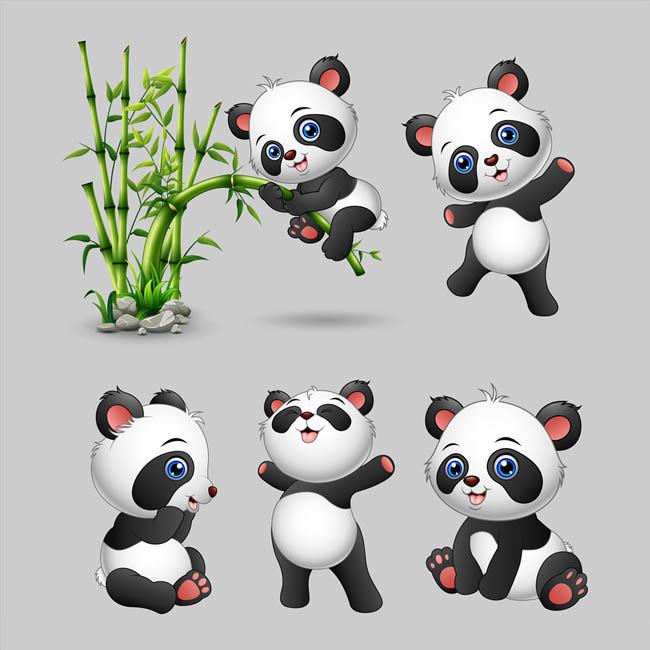 熊猫动漫卡通形象各种表情动作矢量素材_flash二维mg.