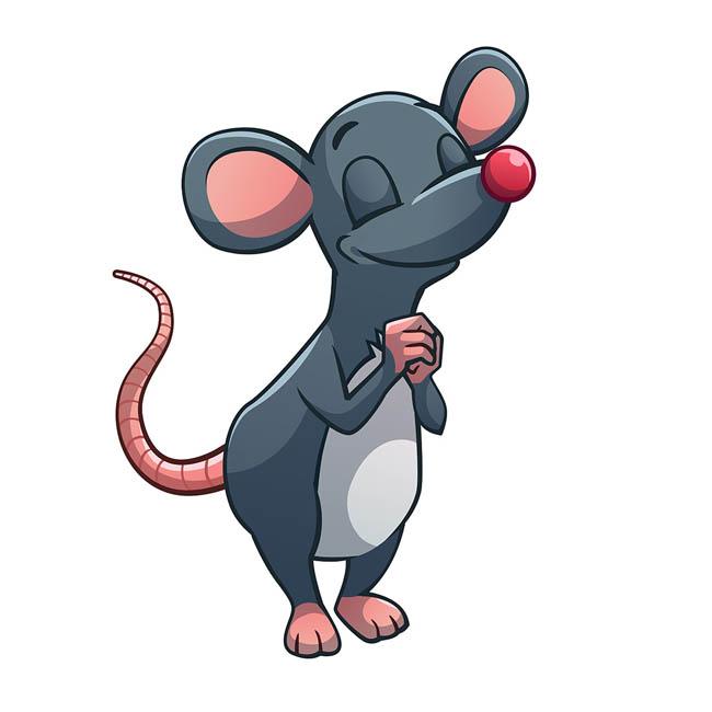 老鼠卡通形象在祈祷的动作设计素材  正在祈祷的灰色老鼠动物矢量