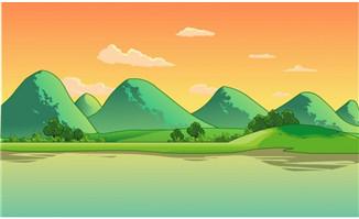 湖水边山川夕阳美丽的二维动画场景素材
