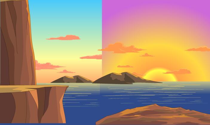 山边海洋夕阳西下flash二维动画场景素材