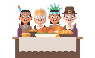 感恩节扁平化人物设计桌