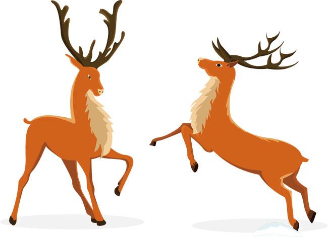 两只驯鹿圣诞主题动物动作设计矢量素材_flash二维mg.