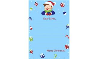 男孩卡通圣诞主题信纸贺