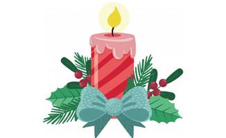 蜡烛圣诞主题花环条纹设