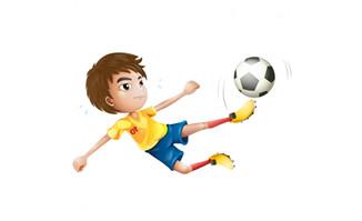 少年儿童飞起来踢足球的