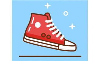 扁平化线条风格红色板鞋
