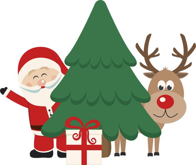 扁平化圣诞树与圣诞老人及驯鹿矢量素材下载_flashmg.