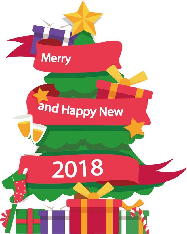 2018年彩带扁平化圣诞树设计素材下载