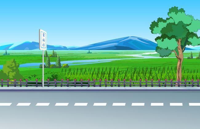 马路边田野山地flash动画场景设计村庄_flash二维动画素材mg动画制作图片