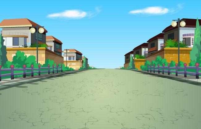 二维场景别墅群外面的小路乡村环境flash动画素材