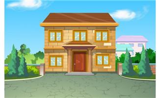 乡村小二楼房子建筑设计场景flash动画素材