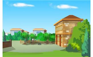 一户小二楼房屋对着农村房屋建筑大门场景设计