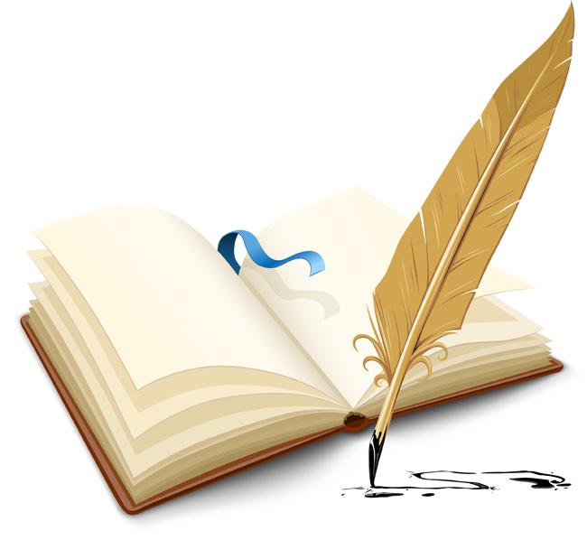 书本羽毛笔中国风元素设计素材   中国风学习毛笔书本免费下载   书
