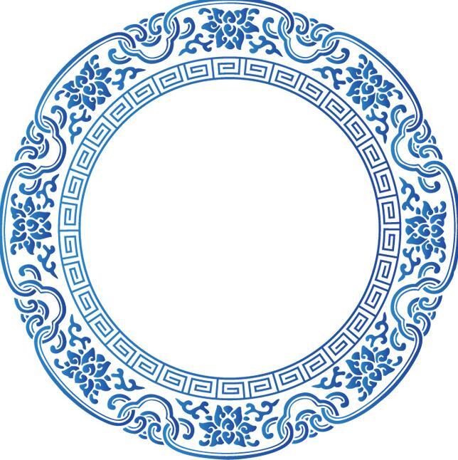 青花瓷花边中国风矢量设计图案素材