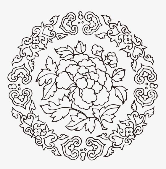 黑白风格中国风花纹图案设计矢量素材