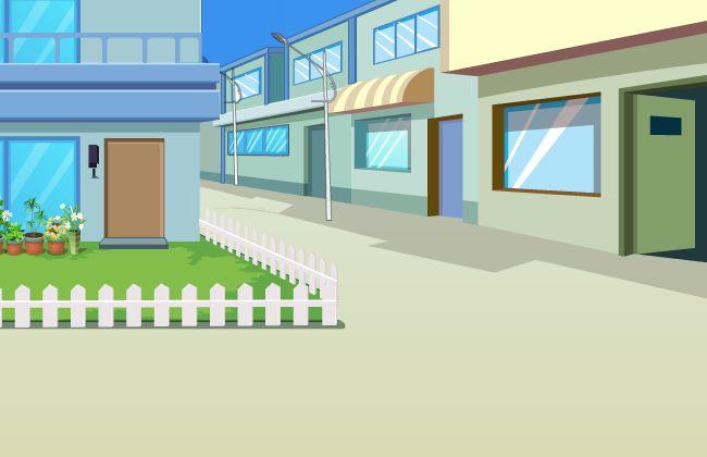 城镇乡村街道门店场景设计flash动画素材