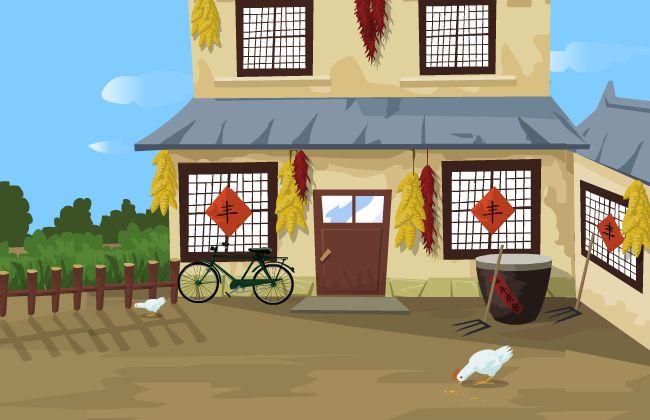 农家小院    flash动画场景设计  动画二维场景素材  农村房屋建筑